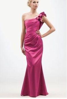 Discount Satin One-Shoulder A-Line Long Bridesmaid Dress Free Measurement