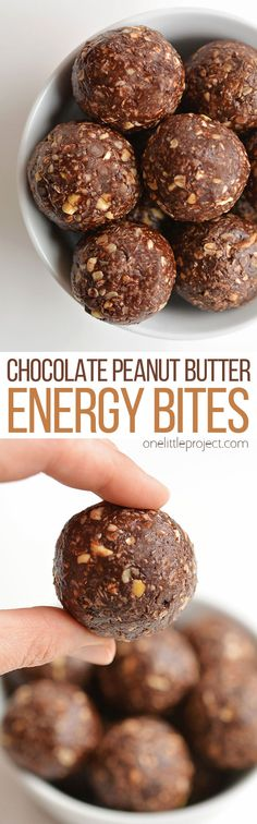 These no-bake chocolate peanut butter energy bites are so easy to make and they are SO GOOD. You can make them in about 15 minutes with zero baking! Energy balls are high in protein so they actually satisfy your hunger AND your sweet tooth! This is such a delicious snack recipe with (mostly) healthy ingredients! Peanut butter and chocolate are the best!