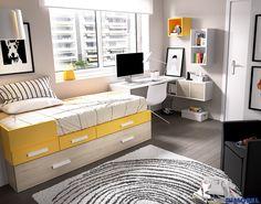 H105_divertida y colorista! #habitacion para los peques con cama compacta adaptada a cualquier necesidad! #SystemQB