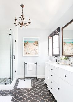 "A Heated Internal Debate - Are There Some Tiles That Are More ""Bathroom"" Than ""Kitchen"" And Are There Rules? - Emily Henderson White Bathroom Tiles, Bathroom Floor Tiles, Small Bathroom, Master Bathroom, Bathrooms, Bathroom Wall, Bathroom Ideas, Kitchen Backsplash Photos, Minimalist Bathroom Design"