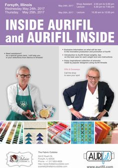 Scheduled my Aurifil's lectures at @craftcobbler The Fabric Cobbler in Forsyth, Illinois on May 24th & 25th, 2017. The Fabric Cobbler, beside offering #Aurifil thread in cotton 50wt, is a premier choices for fabric shopping, sewing tools and accessories to make your sewing project complete ..find out more on http://www.thefabriccobbler.com