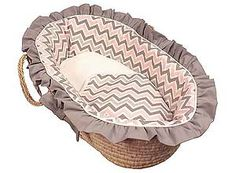 Hoohobbers baby moses basket in the chevron pink design collection is a classic resting place for baby girls in soft pink, soft white, and gray chevrons.