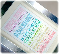 Personalized Framed Mothers Day Decree Gift - available in my blog store. aliciathelin.com