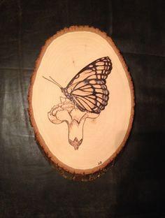 Butterfly wood burning art