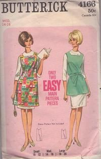 Items similar to Vintage Butterick 4166 Sewing Pattern, Apron in Two Versions, Size Medium Bust, Retro Mod on Etsy Easy Apron Pattern, Retro Apron Patterns, Vintage Apron Pattern, Aprons Vintage, Vintage Sewing Patterns, Clothing Patterns, Vintage Dresses, Fashion Patterns, Clothing Styles