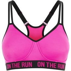 New Look Pink On The Run Print Non Wired Sports Bra (125 MXN) ❤ liked on Polyvore featuring activewear, sports bras, pink, pink sports bra and pink sportswear