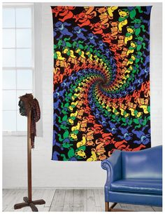 Handmade 100% Cotton Grateful Dead Tapestry Wall Hang 3D Dancing Bear in a Spiral 60x90