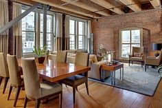 Condo in a historical building modern dining room
