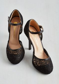 Always Getting What You Flaunt Heel in Onyx | Mod Retro Vintage Heels | ModCloth.com