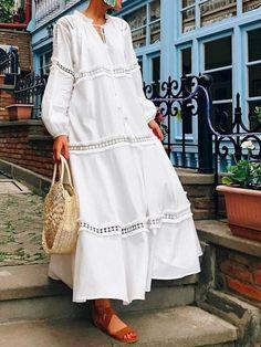 Description Product Name V Neck Lantern Sleeve Hollow Out Maxi Dress maxi dress summer,maxi dress outfit,maxi dress casual, Long White Maxi Dress, Maxi Dress With Sleeves, Plain Dress, White Dress, Dress Long, Plus Size Maxi Dresses, Casual Dresses, Summer Dresses, Vacation Dresses