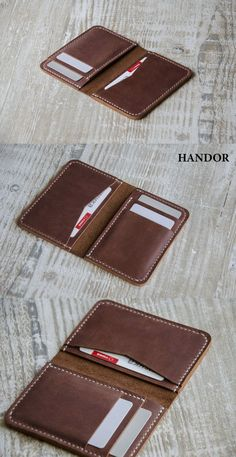 This front pocket wallet design is slim and fun. card wallet is handmade. - Mach Es Selbst DIY This front pocket wallet design is slim and fun. card wallet is handmade. Leather Front Pocket Wallet, Leather Wallet Pattern, Handmade Leather Wallet, Leather Gifts, Slim Leather Wallet, Custom Wallets, Handmade Wallets, Leather Purses, Man Stuff