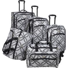 American Flyer Clover Metallic 5 Piece Spinner Set ($176) ❤ liked on Polyvore featuring bags, luggage, grey and luggage sets