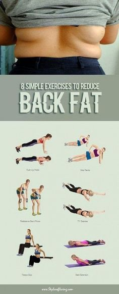 Belly Fat Workout - Lose Fat Belly Fast - 8 Simple Exercises To Reduce Back Fat Fast Fitness Workouts, Sport Fitness, Easy Workouts, At Home Workouts, Fitness Motivation, Health Fitness, Yoga Fitness, Exercise At Home, Workout Routines
