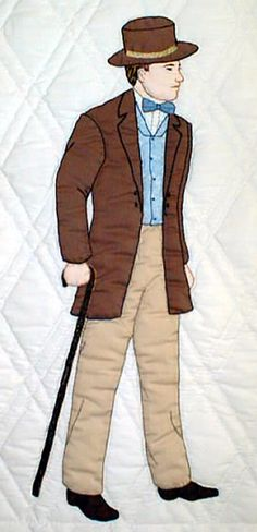 """#6 """"Gentlewomen Bonnet Girls Relatives & Friends""""   Adam $6.50.  Adam's stylish Victorian shirt, hat and jacket are supplemented by an hand embroidery cane as he sets out for a meeting with one of the Bonnet Girls. His high collar is accented with a bowtie cravat."""