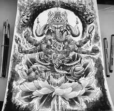 Ganesh Tattoo, Hindu Tattoos, Buddha Tattoos, Dark Fantasy Art, Fantasy Artwork, Body Tattoo Design, Happy Ganesh Chaturthi Images, Rose Tattoos For Men, Ganesha Pictures