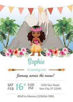 f78a8e2012b6 Moana Inspired Birthday Party Invitations, Luau Floral Theme Custom  Editable Invite, Baby Toddler Hawaiian Princess Printable and Download