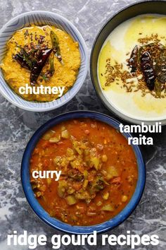 ridge gourd recipe | beerakaya curry | turai ki sabji | heerekai chutney & raita with step by step photo and video recipe. there are myriad vegetables we use on a day to basis and we end up making just one recipe out of it. however each and every part of these vegetables can be used to make different types of recipes and dishes. one such vegetable is ridge gourd and you can make curry, chutney and raita without wasting any part of it. Indian Veg Recipes, Indian Dessert Recipes, Curry Recipes, Vegetarian Recipes, Kitchen Recipes, Cooking Recipes, Keto Recipes, Comida India, Veg Curry