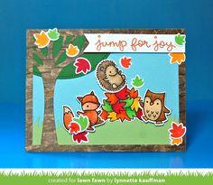 Lawn Fawn - Jump for Joy, Leafy Tree Backdrop: Landscape, Grassy Hillside Borders _ card by Lynnette for Lawn Fawn Design Team for Lawn Fawn + ARC Crafts Day One