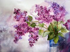 Lilac by Yvonne Harry Watercolor Cards, Watercolour Painting, Watercolor Flowers, Painting & Drawing, Watercolours, Lilac Painting, Art Floral, Watercolour Tutorials, Beautiful Paintings