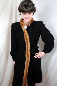 Amazing Vintage 40s Mink Trimmed Wool Coat by RogueRetro on Etsy, $230.00
