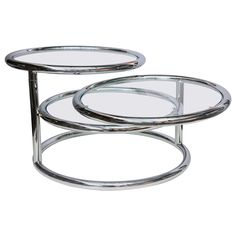 Milo Baughman Style Swivel Tiered Circles Coffee Table   From a unique collection of antique and modern coffee and cocktail tables at https://www.1stdibs.com/furniture/tables/coffee-tables-cocktail-tables/