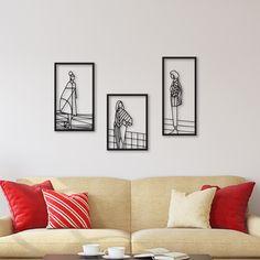 3d Wall Decor, Metal Wall Art Decor, 3 Piece Wall Art, Diy Room Decor, Home Decor, Modern Metal Wall Art, Scandinavian Apartment, Metal Walls, Wall Design