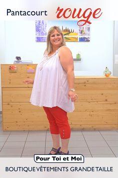 Magnifique pantacourt rouge qui porte haut et fort les couleurs de l'été. 65 % coton, il est taille élastique pour un confort absolu. #coton #confort #belleenxl #ronde Summer Dresses, Tops, Fashion, Elastic Waist, Man Women, Plus Size, Colors, Top, Red