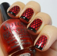 Fishnet nails. I painted mine a textured pink with white lines. I think it looks like a picnic.