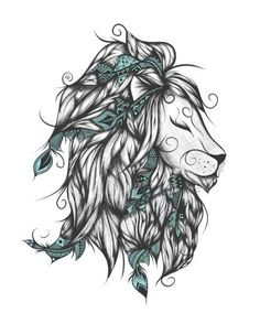 Poetic Lion Turquoise Art Print                                                                                                                                                     More: