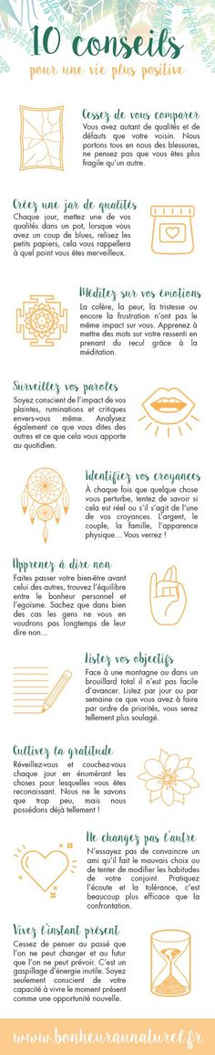 Motivation Quotes : Infographie : 10 conseils pour une vie plus positive - Bonheur au naturel. Vie Positive, Positive Attitude, Positive Quotes, Zen Attitude, Positive Mindset, Coaching, Miracle Morning, Daily Meditation, Meditation Benefits
