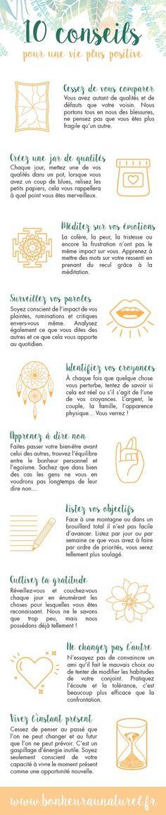 Infographie #2 : 10 conseils pour une vie plus positive - Bonheur au naturel: