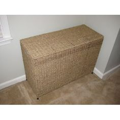 Household Essentials Woven Seagrass Triple Laundry Sorter with Removable Bags