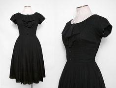 1950s Black Party Dress / Vintage 50s Dress by FancyThatVintage