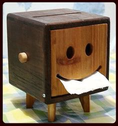 I want one of these napkin holders #wood #napkin #holder #creative #smile #happy #box #toilet #paper #tissue #craft #handmade #home #smilyface #decoration #different #stained #useful #build #create #goodidea #work #workshop #tools #legs #art #heart #thought #loveit #cool
