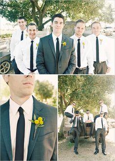 Charcoal tux, navy tie, no jacket for groomsmen makes groom stand out. Dark Grey Groomsmen, Groom And Groomsmen Pictures, Groom Pictures, Groomsmen Outfits, Groom Outfit, Casual Groomsmen, Groomsman Attire, Wedding Pics, Dream Wedding
