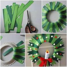 Christmas Crafts for kids to make Corona de navida - christmascrafts Paper Christmas Decorations, Christmas Crafts For Kids To Make, Christmas Activities, Handmade Christmas, Holiday Crafts, Christmas Diy, Christmas Wreaths, Christmas Ornaments, Wreath Crafts