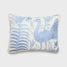 Blue Otomi Pillow by Alegria Home   DARA Artisans