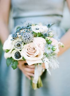 dusty blue bridesmaid bouquet with anemones