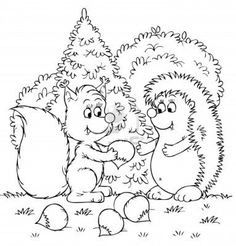 Squirrel and hedgehog with nuts Poster Coloring Book Pages, Dream Life, Beaded Embroidery, Squirrel, Hedgehog, Embellishments, Applique, Snoopy, Cartoon