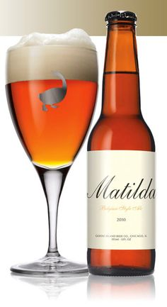 "Matilda Belgium Style Pale Ale, said to ""develop in the bottle for up to 5 years"", by Goose Island Beer Company, Chicago IL January 2014 All Beer, Best Beer, Beer Brewing, Home Brewing, Craft Bier, Beers Of The World, Belgian Beer, Beer Company, Beer Brands"