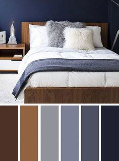 Grey and Brown Bedroom. Grey and Brown Bedroom. Packed with Style This Modern Gray and Brown Bedroom Brown Bedroom Colors, Grey Colour Scheme Bedroom, Navy Blue Bedrooms, Living Room Color Schemes, Blue Color Schemes, Bedroom Paint Colors, Living Room Colors, Brown Bedrooms, Living Rooms