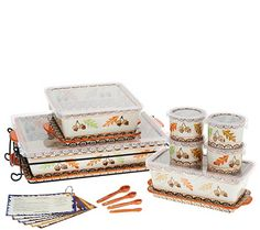 Old World charm that takes the cake. This sensational 16-piece set from Temp-tations is a bonanza for bakers. Stylish stoneware takes your culinary creations from oven to table with ease and elegance. The included measuring spoons and ramekins are pretty and practical prep work essentials. From Temp-tations(R) Ovenware. QVC.com