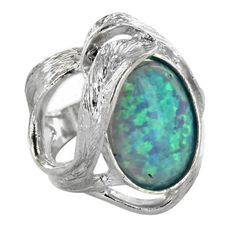 Opal Ring: Sterling Silver Created Blue Opal Oval Cutout Ring - Fire and Ice