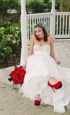 I got this bride thing down! #redlips #redshoes #redroses