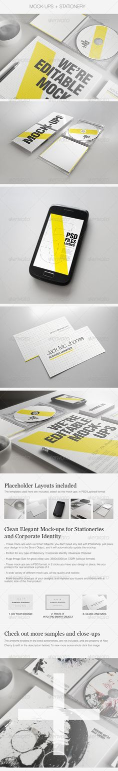 Realistic Stationery Mockups Set 2 Corporate Id Corporate Signs Corporate Identity Visual Identity