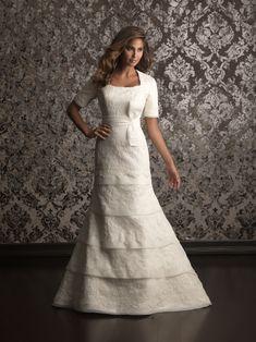 Allure Bridals M493 Modest Lace Wedding Dress