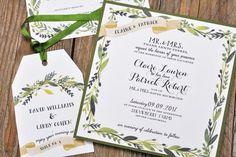 Watercolor Olive Leaf Wedding Invitation for Santa Barbara wedding Watercolor Wedding Invitations, Wedding Invitation Design, Invitation Suite, Invitation Ideas, Custom Stationery, Custom Invitations, Fine Stationery, Stationary, Wedding Stationery Inspiration