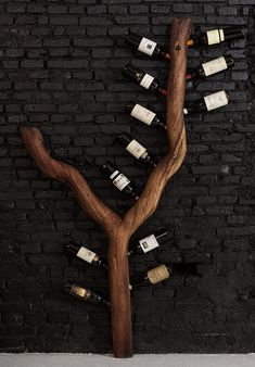 Hjem - One Funky Furniture Wine Shelves, Wine Storage, Wine Decor, Rustic Decor, Home Wine Cellars, Wine Cellar Design, Wine Rack Wall, Home Ceiling, Lounge Design