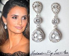 Cubic zirconia earrings, Brides earrings, Sterling posts, Teardrops, High quality, Wedding earrings, Bridesmaids earrings, Classic, Gift