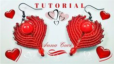 "Tutorial earrings ""Cuore- Heart"" How to make easy macrame hearts for ear..."